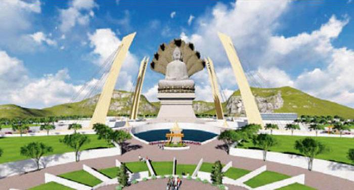 Sebuah ilustrasi penggambaran rupaka Buddha yang dibangun di Gujarat, India