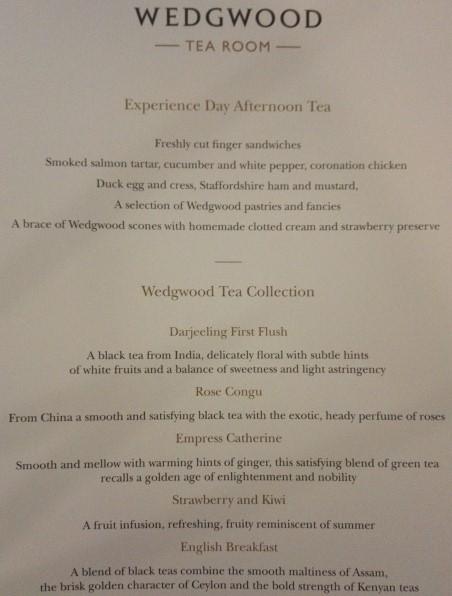 The Wedgwood Afternoon Tea  ウェッジウッドアフタヌーンティーのメニュー