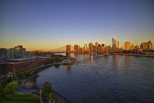 a morning view from the Manhattan Bridge