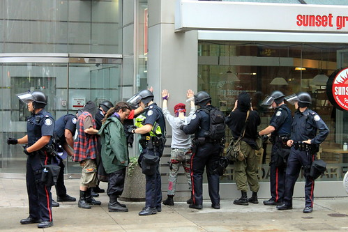 G20 Toronto 2010 Protesters being searched by Police