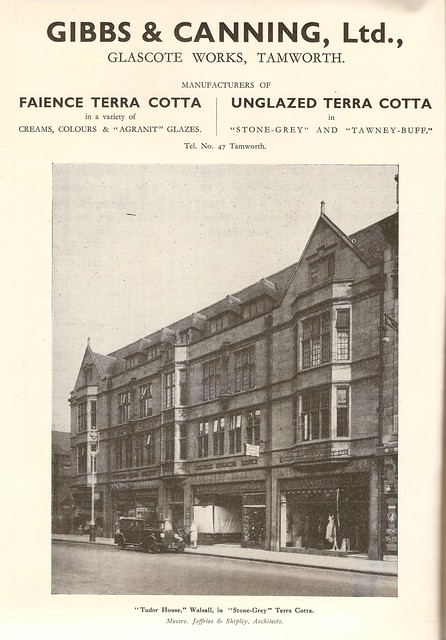 Gibbs & Canning, terracotta & faience manufacturers of Tamworth - advert showing the Tudor House, Walsall, c1931