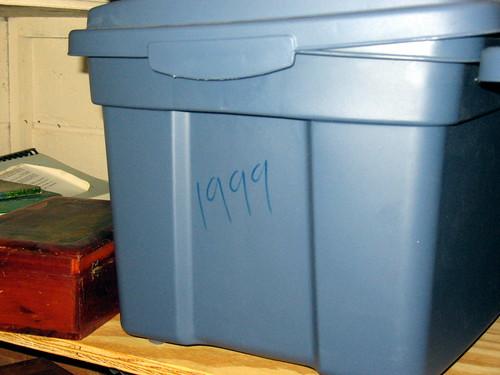 plastic tub containing Diary 1999