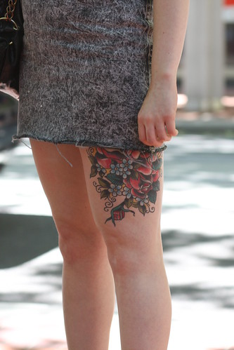 Katie? rose thigh tattoo – detail