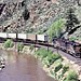 DRG&W Piggyback Freight Snakes Through Byers Canyon, Colorado, 1982