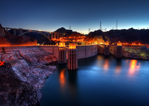 longexposure travel bridge vacation arizona usa lake nature water night canon river landscape concrete photo twilight colorful arch photographer venus dam nevada picture arches clear powerlines hooverdam lakemead coloradoriver 2009 hdr spillway stateline bouldercity photomatix 40d mywinners platinumphoto hooverdambypass mikeocallaghanpattillmanmemorialbridge photographersnaturecom davetoussaint