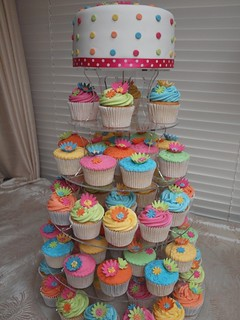 bright coloured wedding cupcakes