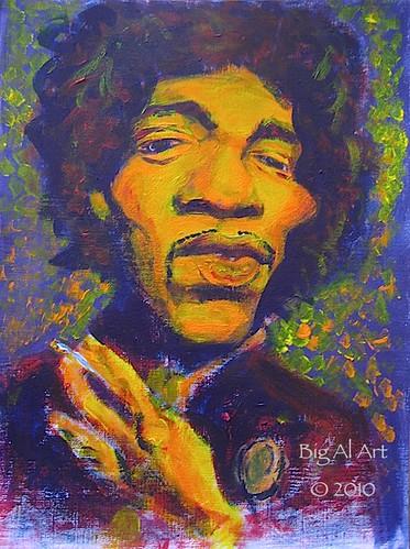Jimi Hendrix Acrylic On Canvas Paper