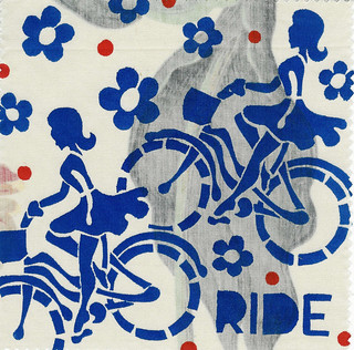 Woman Rider bicycle fabric patch by Janet Bike Girl