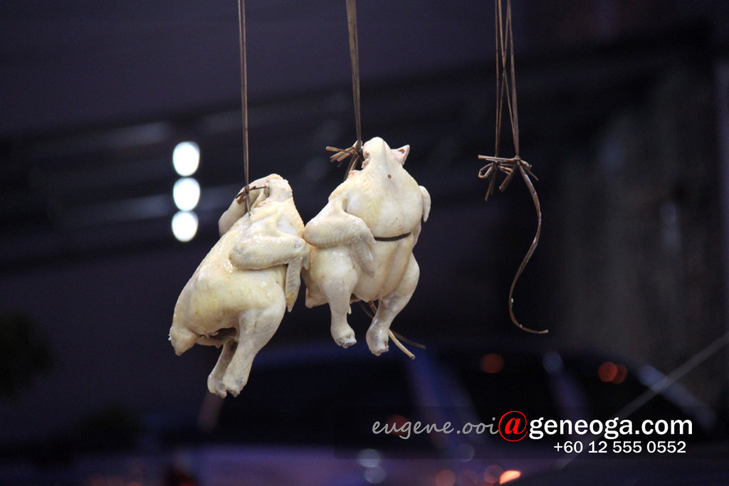 Hanging poached chicken