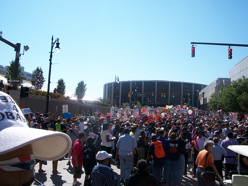 "Thousands march down Washington Blvd. at the Detroit March for Jobs, Justice and Peace on August 28, 2010. The main chants were led by the Moratorium NOW! Coalition which repeated the slogan: ""Bail Out the People, Not the Banks! (Photo: Abayomi Azikiwe) by Pan-African News Wire File Photos"