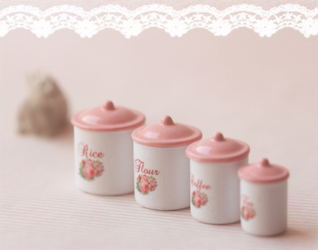 dollhouse miniature 1 12 scale 4 elegant pink kitchen french country elegant kitchen canisters tea coffee