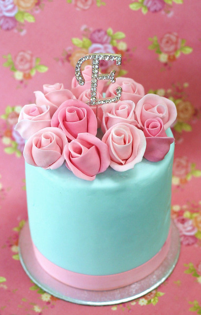 Birthday Cake Roses Blue Red