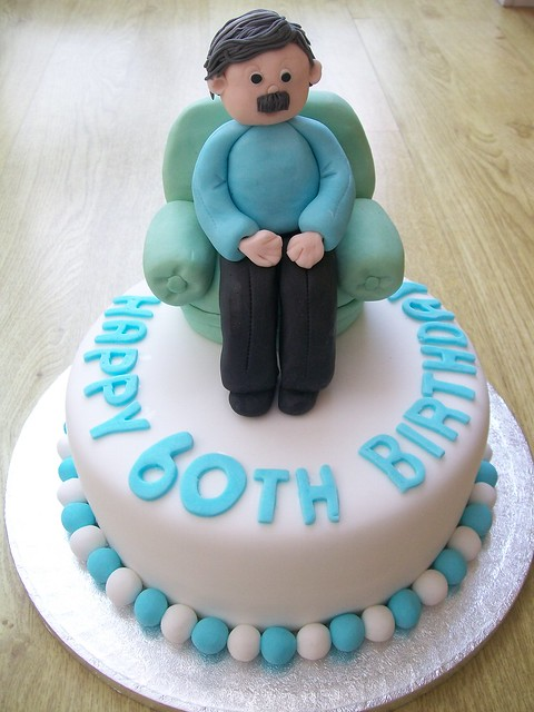 Man In Armchair Cake Topper 60th Birthday Cake