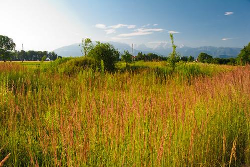 houses sun mountains grass clouds landscape slovenia slovenija