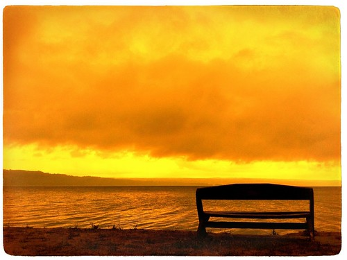 light sunset lake newyork water yellow contrast bench relaxing peaceful ithaca iphone colorfx iphone4 iphoneography