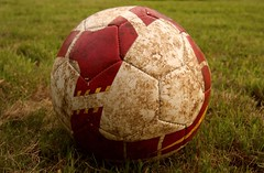 ball, grass, red, ball, football,