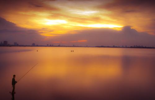 sunset art fishing nikon vietnam westlake hanoi