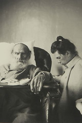 Leo Tolstoy during illness with his daughter Tatiana, by Sophia Tolstoy 1902