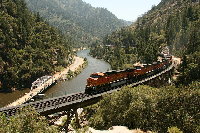 BNSF at Rock Creek Trestle at Storrie, CA