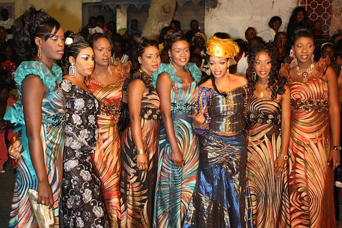 <p>The partys hostesses surround dancer Maman Diallo, whose organized the sabar, and her mentor, Oumou Sow.</p>
