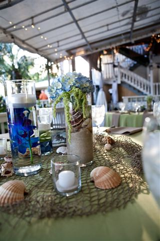 Sand and shell centerpieces Beach themed centerpieces