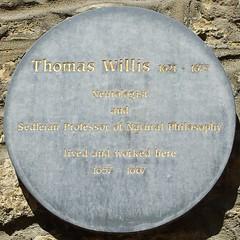 Photo of Thomas Willis grey plaque