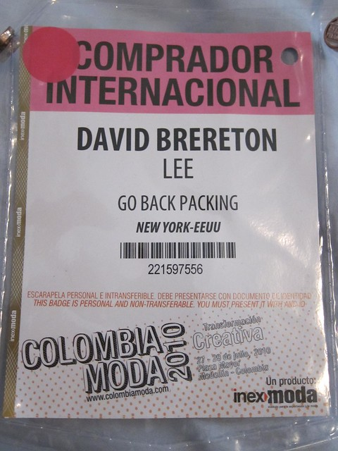 "This Colombiamoda badge indicates I'm an ""international buyer"""