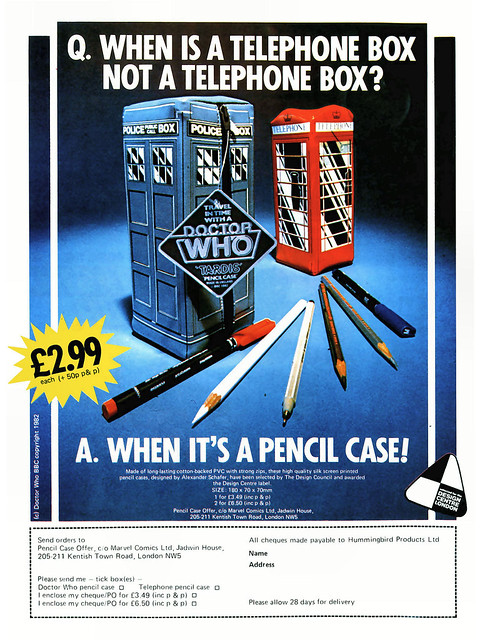 Doctor Who Pencil Case Ad From Spider-Man & His Amazing Friends Comic 1983