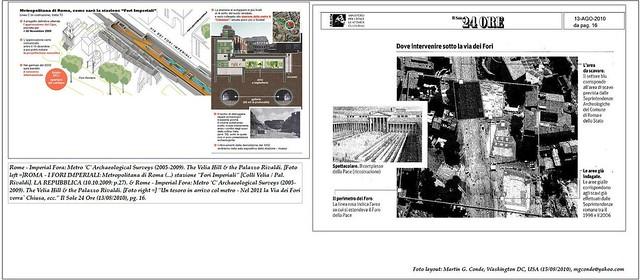 Rome - Imperial Fora: Metro 'C' Archaeological Surveys (2005-2010). The Velia Hill & the Palazzo Rivaldi. [Foto left] Metropolitana C di Roma (... ): LA REPUBBLICA (10.10.2009: p.27); & [Foto right] Il Sole 24 Ore (13/08/2010), pg. 16.