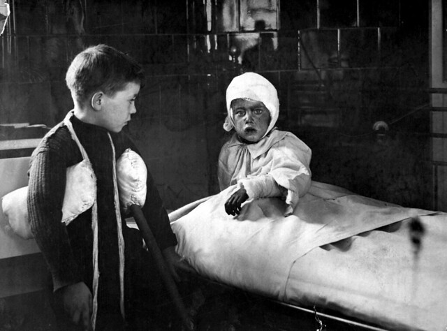 The Great Air Raid on London.  Some of the wounded school children in a hospital. Ca. 1915. British Official