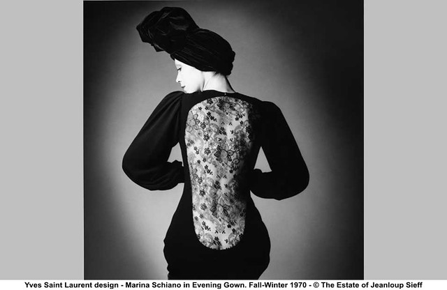Yves saint laurent design marina schiano in evening gown for Miroir yves saint laurent
