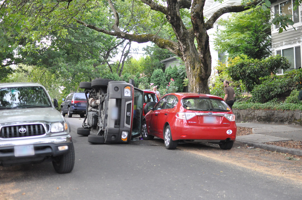car accident with overturned car