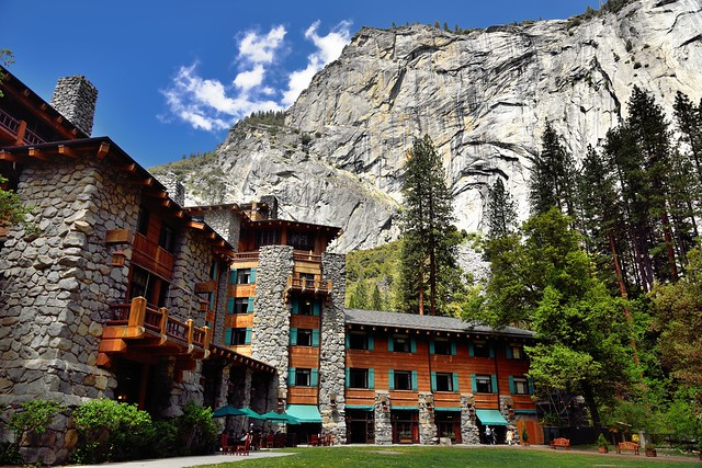 A Mountainside Backdrop to the The Majestic Yosemite Hotel (Ahwahnee Hotel)