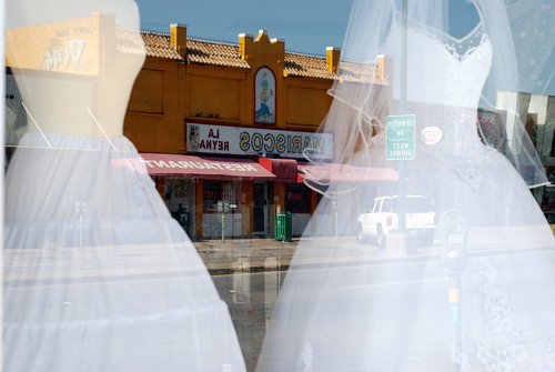 Wedding dress warehouse dallas : Wedding dress window store reflection oak cliff dallas texas