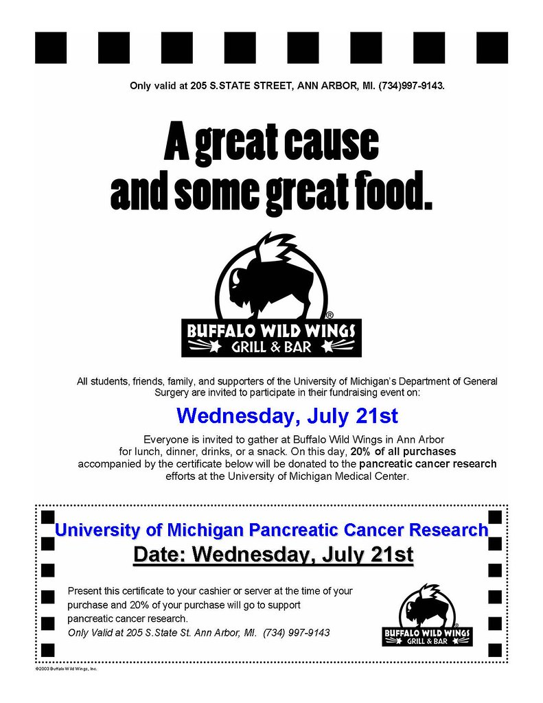 Pancreatic Cancer/Buffalo Wild Wings Fundraiser