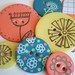 6 VERY BIG Round EXTREMELY SHINY Chipboard Epoxy Button Embellishments with Lacey Scalloped Edge Journaling Tag and Coordinating Embroidery Floss-Explosion of Flowers by The LemonDrop Tree