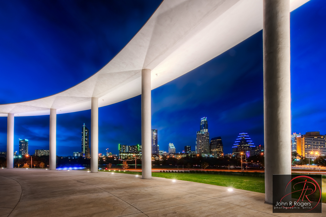 Long Center Patio & Austin Texas Skyline