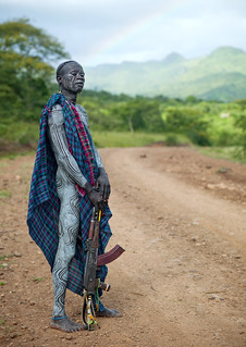 Surma warrior with AK-47 near Turgit - Ethiopia