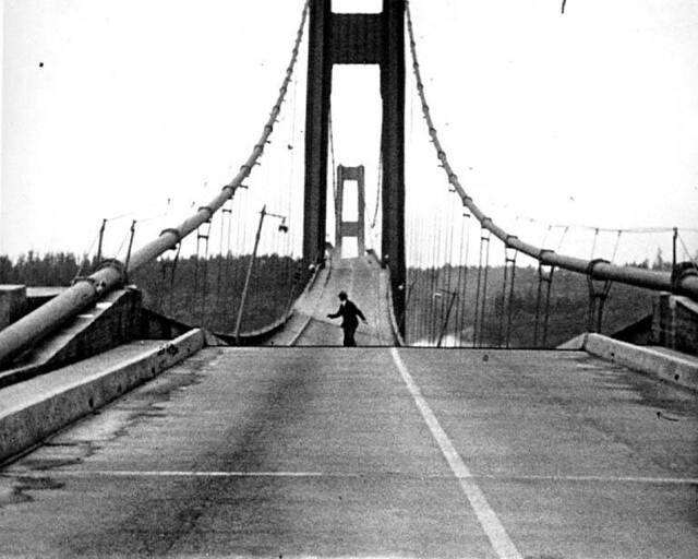 Howard Clifford running off the Tacoma Narrows Bridge during collapse, Tacoma, Washington