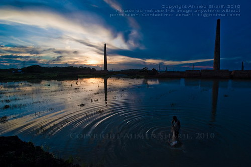 sunset chimney water clouds dark fishing nikon dusk environment gloom ripples dhaka char bangladesh brickfield nikkoraf20mmf28d d700 washpur