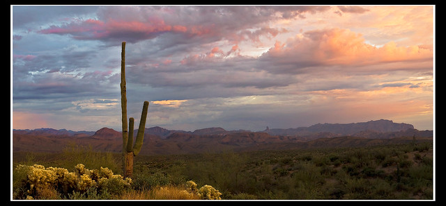 superstition ridge line at sunset