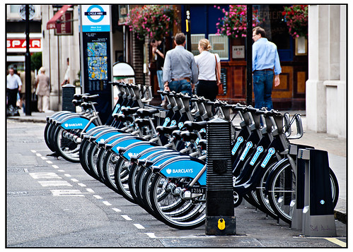 Dock Bikes at Barclays Cycle Hire by swanksalot on Flickr.  Used by Creative Commons.