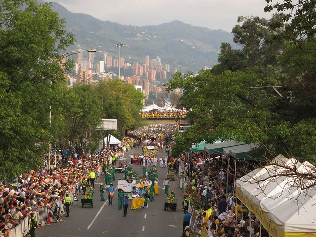 View of the parade route from atop the bridge.