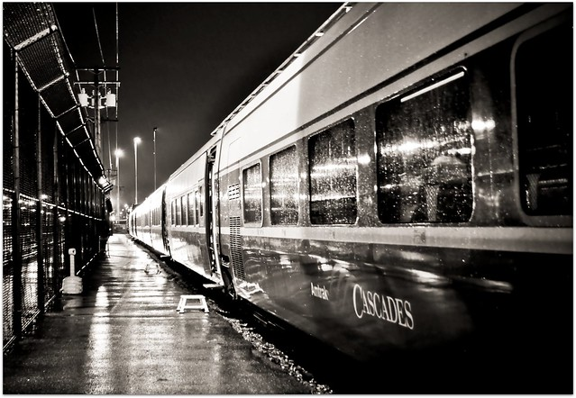 Amtrak Cascades Train ~ Vancouver, BC, Canada to Seattle, Washington on a Beautiful Rainy Night