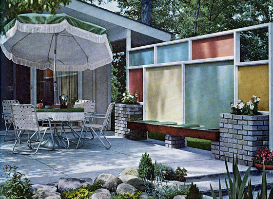 Mid century living wood privacy screens for Carport privacy screen