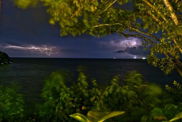 Lightning over the ocean in Jamaica