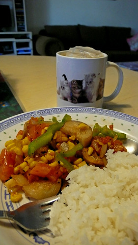 veggies and cat mug.