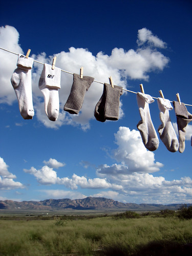 socks drying on clothesline