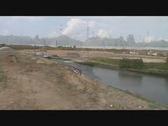 Port Hagondange Talange, manoeuvre d'une péniche à grand gabarit, juillet 2010 , 1ère partie