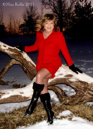 red woman sexy beautiful leather boots transgender suit blonde elegant saks businesswoman careerwoman misskellie